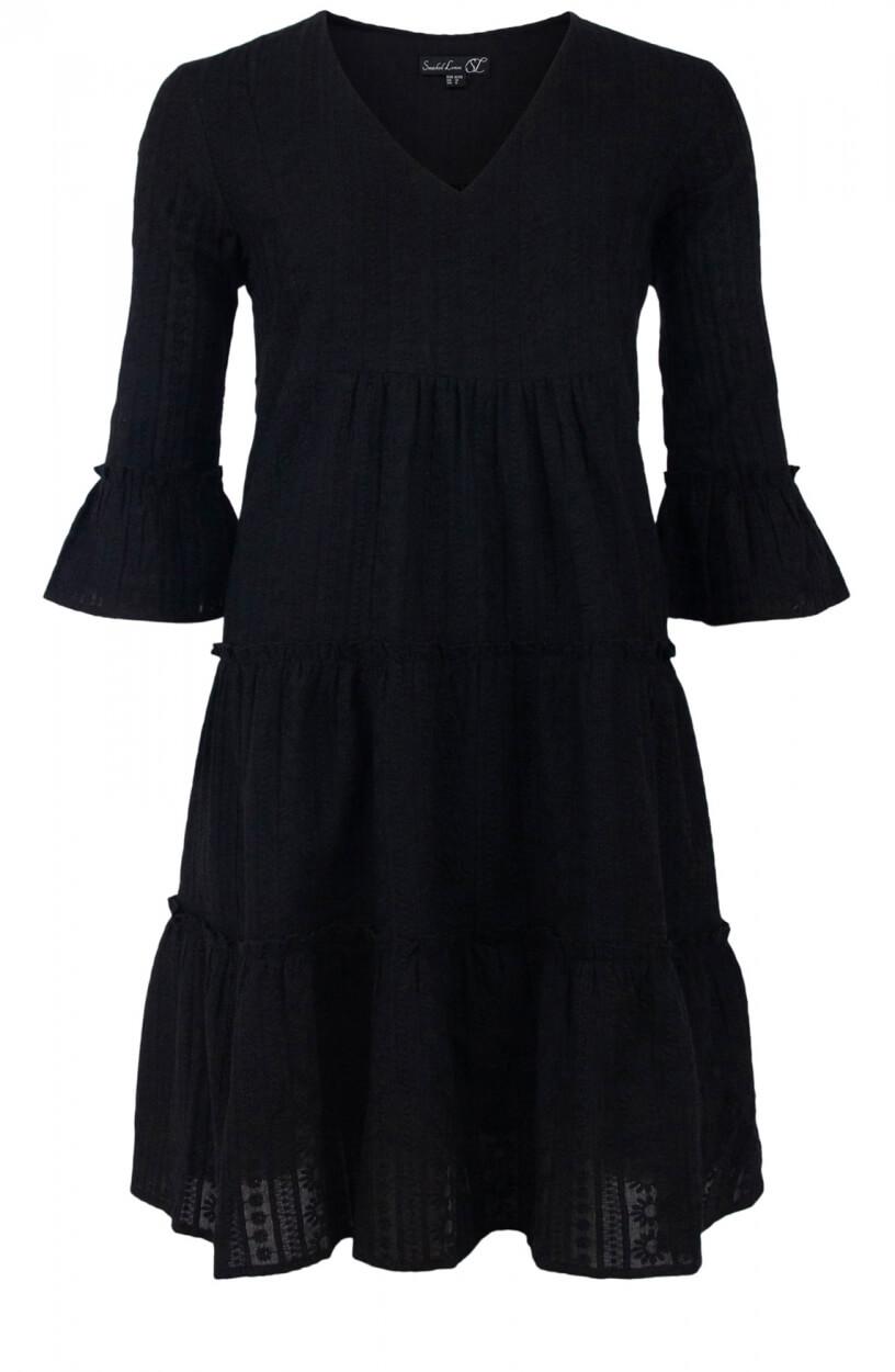 Smashed Lemon Dames Geborduurde jurk Zwart