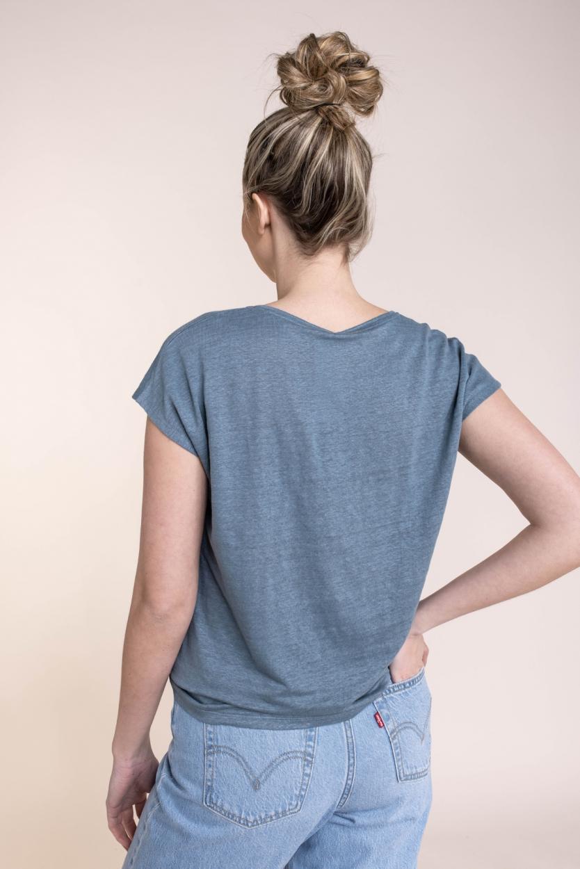 Emotions Dames Linnen shirt Blauw