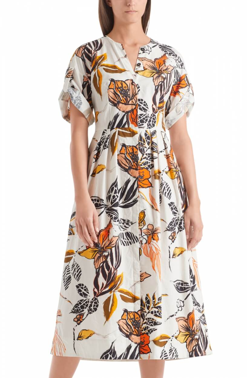 Marccain Dames Bloemenprint jurk Wit