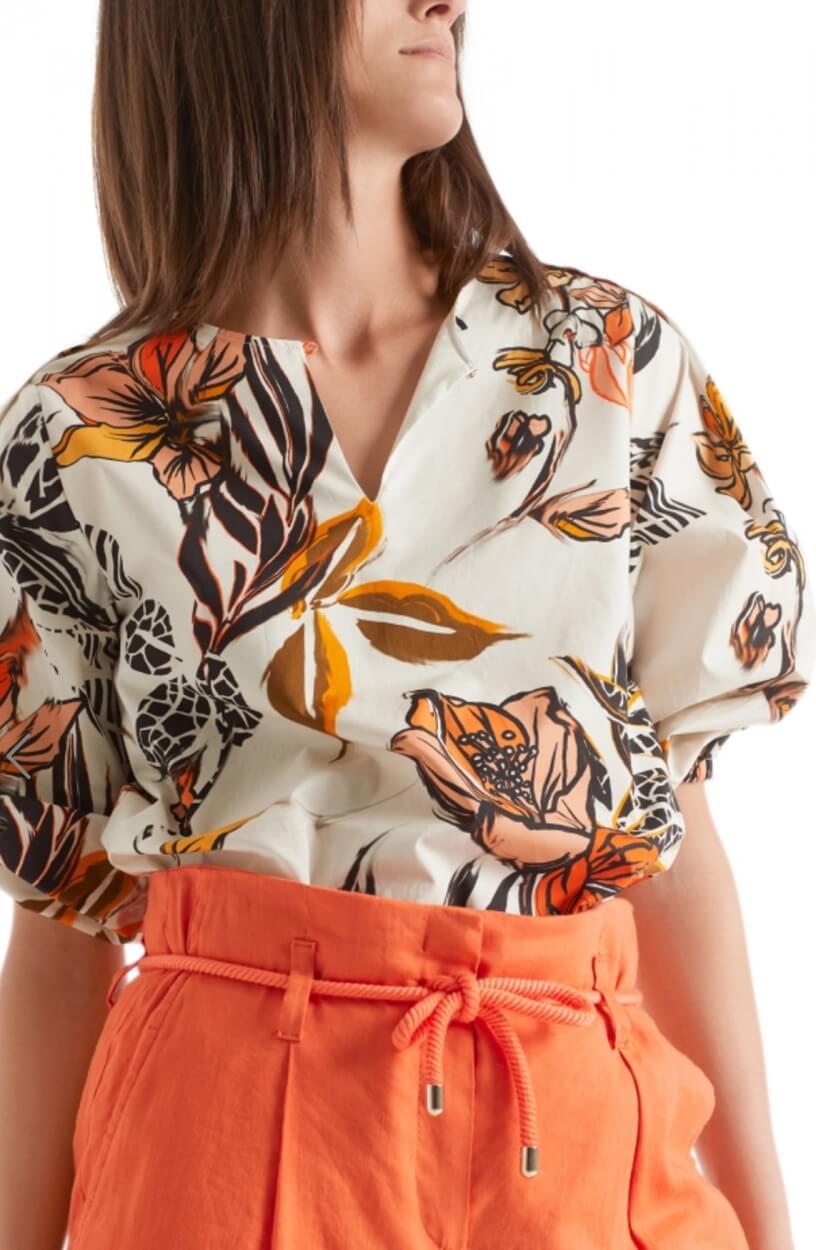 Marccain Dames Bloemenprint blouse Wit
