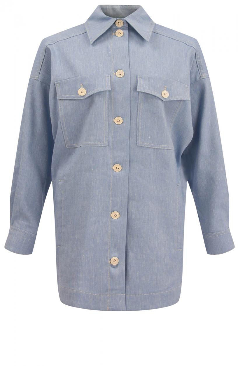 Drykorn Dames Nasim overhemdjack Blauw