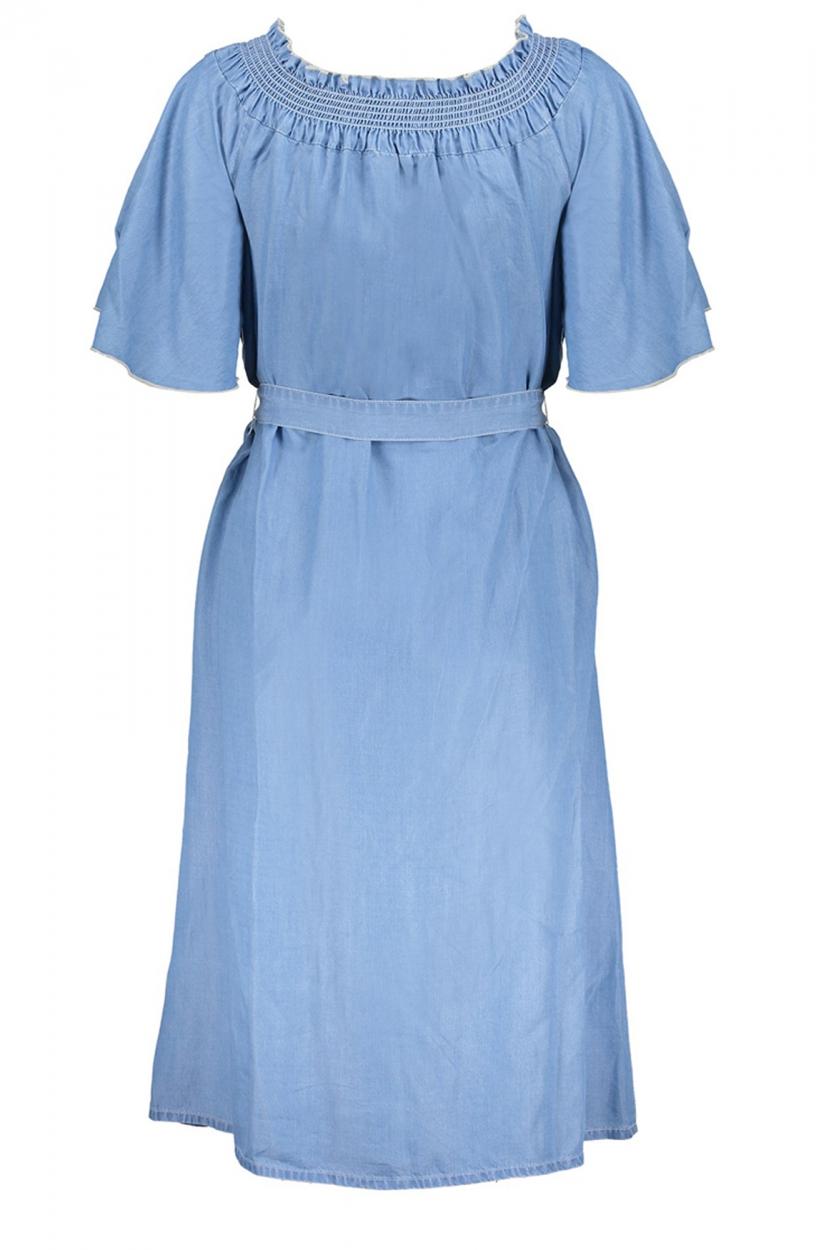 Geisha Dames Offshoulder jurk Blauw