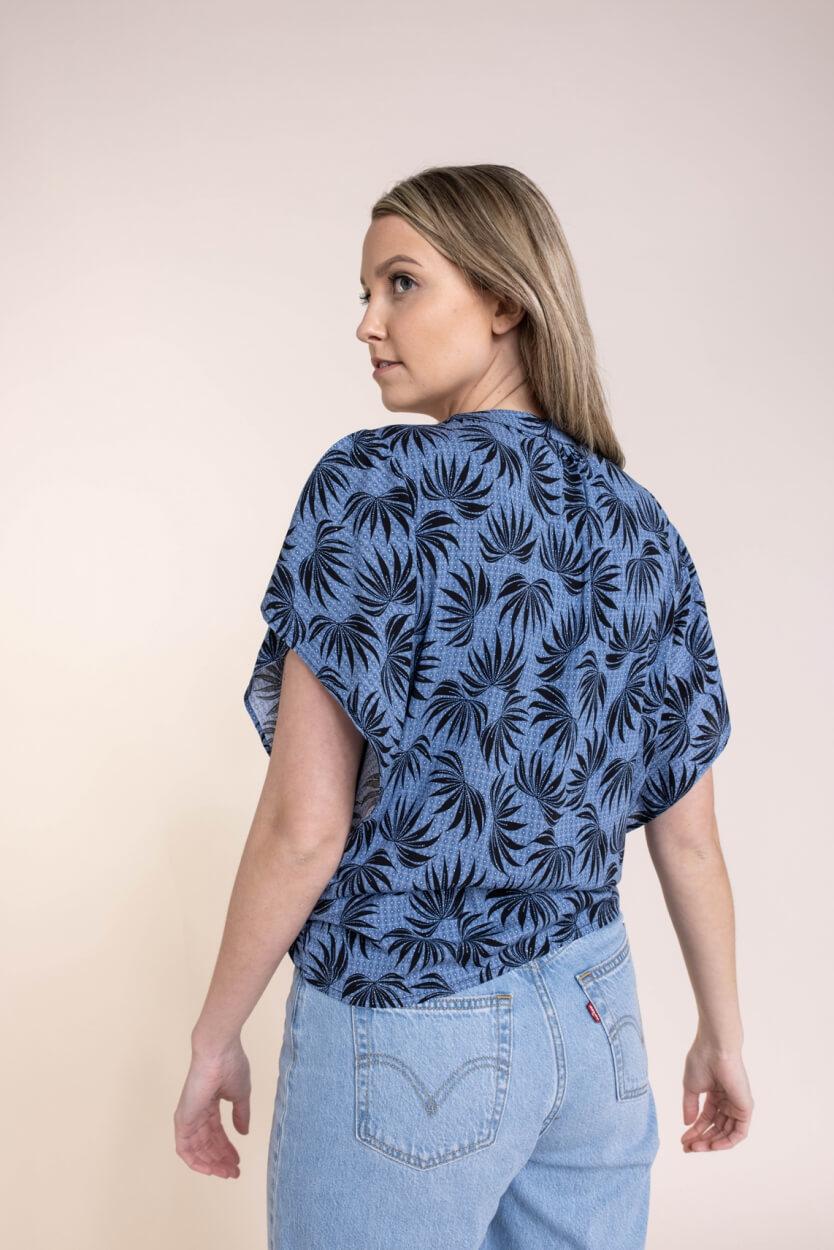 Geisha Dames Bladprint shirt Blauw