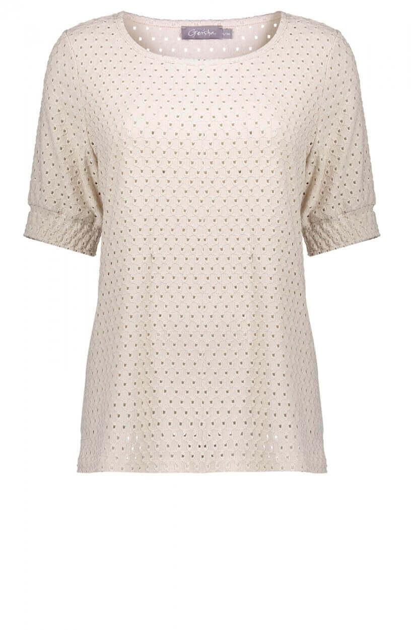 Geisha Dames Opengewerkt shirt Wit
