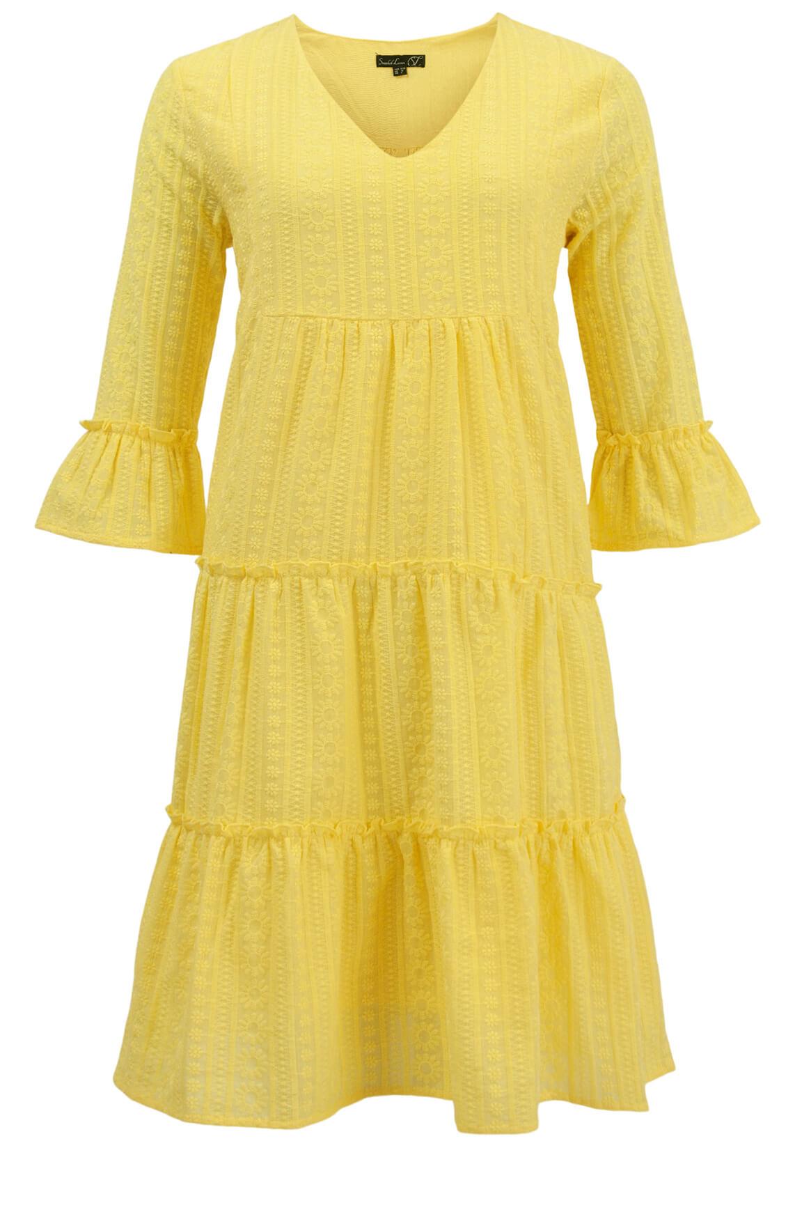 Smashed Lemon Dames Geborduurde jurk Geel