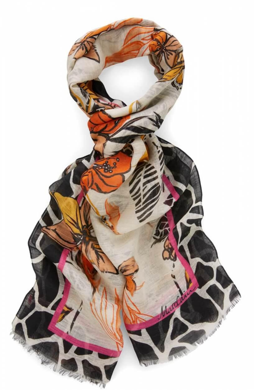 Marccain Dames Bloemen shawl Wit