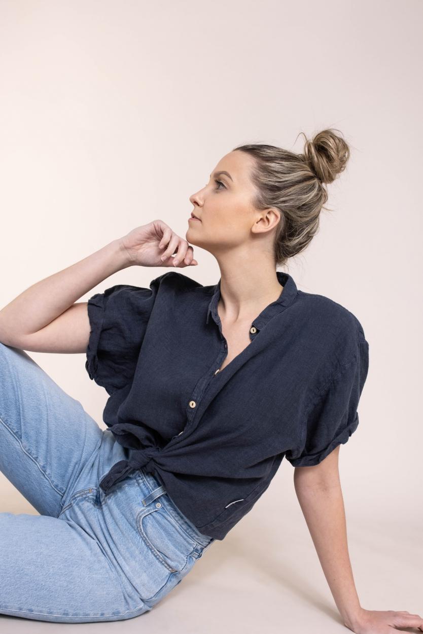 Penn & Ink Dames Linnen blouse Blauw