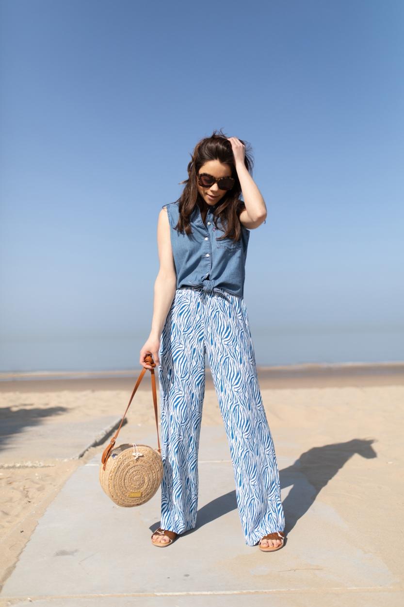 Levi's Dames Denim blouse met knoop Blauw