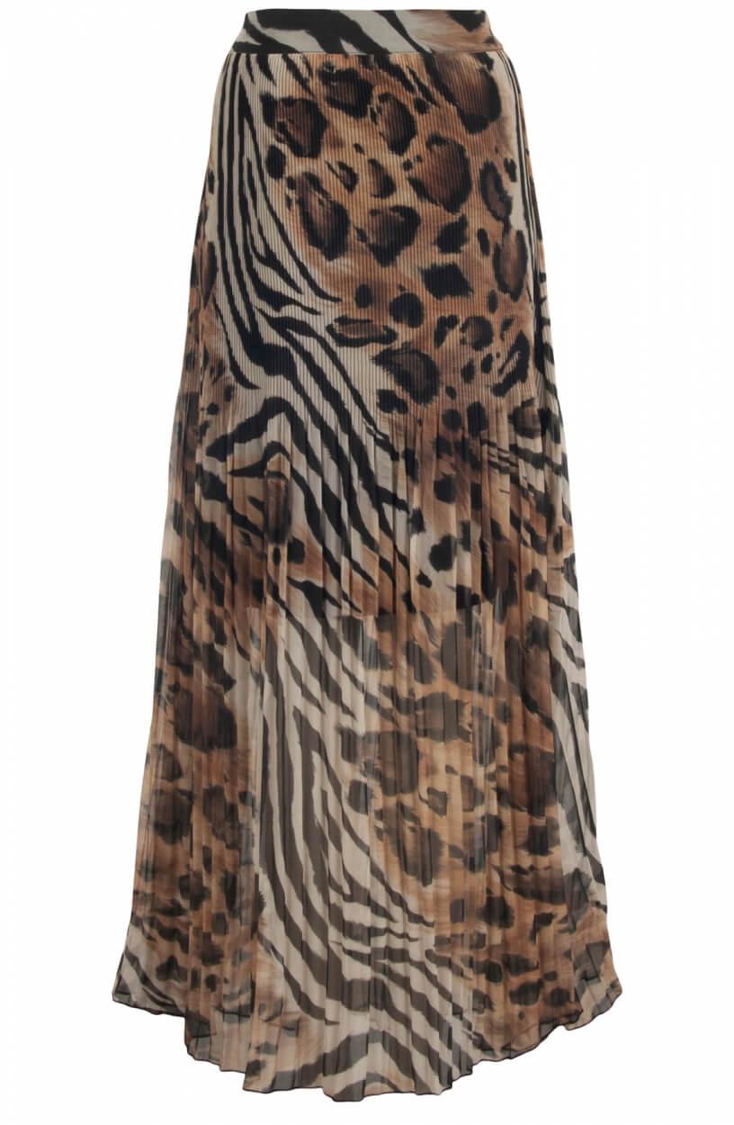 Monari Dames Animalprint plissé rok Bruin