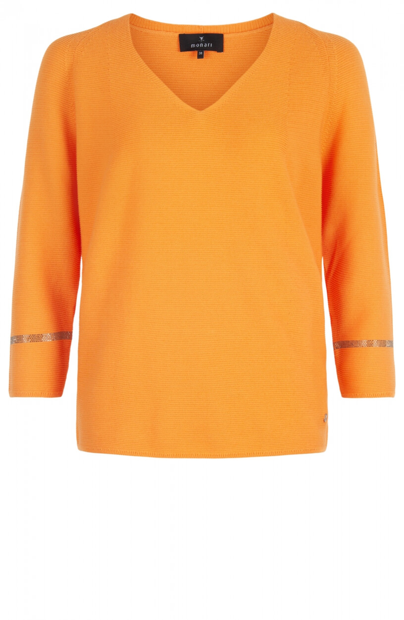 Monari Dames Gebreide pullover met v-hals Oranje
