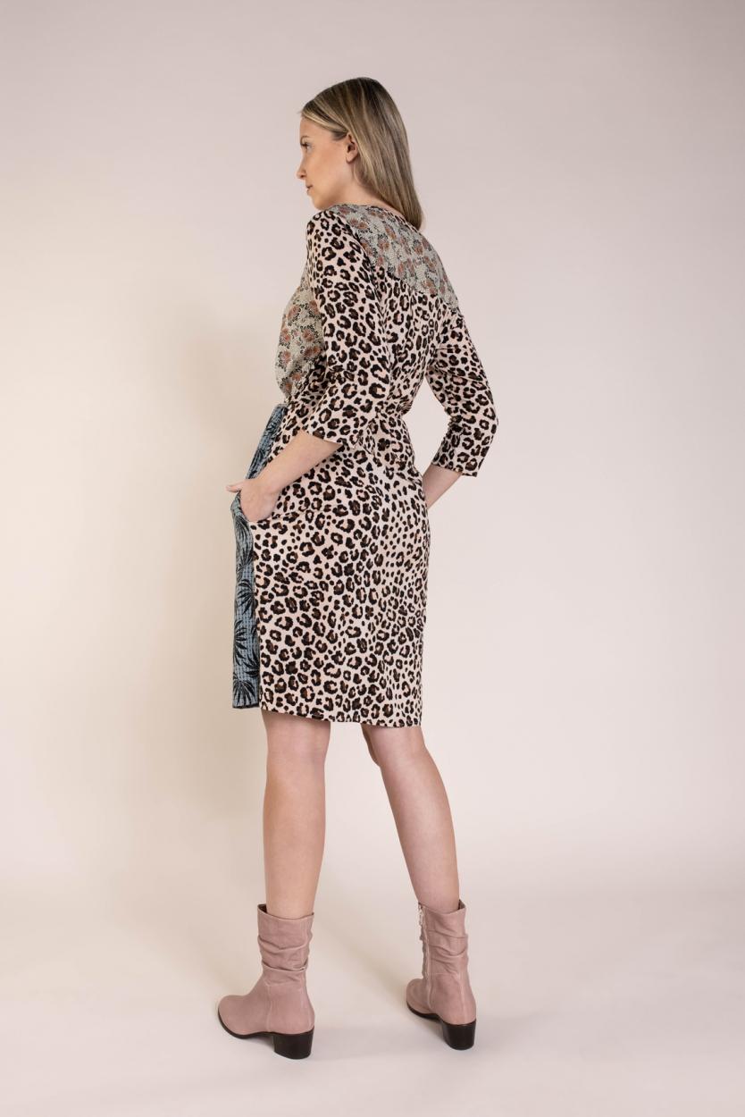 Geisha Dames Dessin jurk Bruin