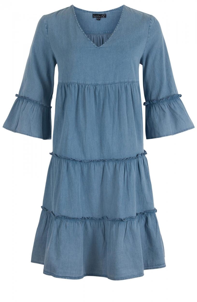 Smashed Lemon Dames Denim jurk met volant Blauw