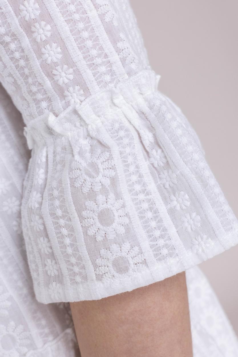 Smashed Lemon Dames Geborduurde jurk Wit