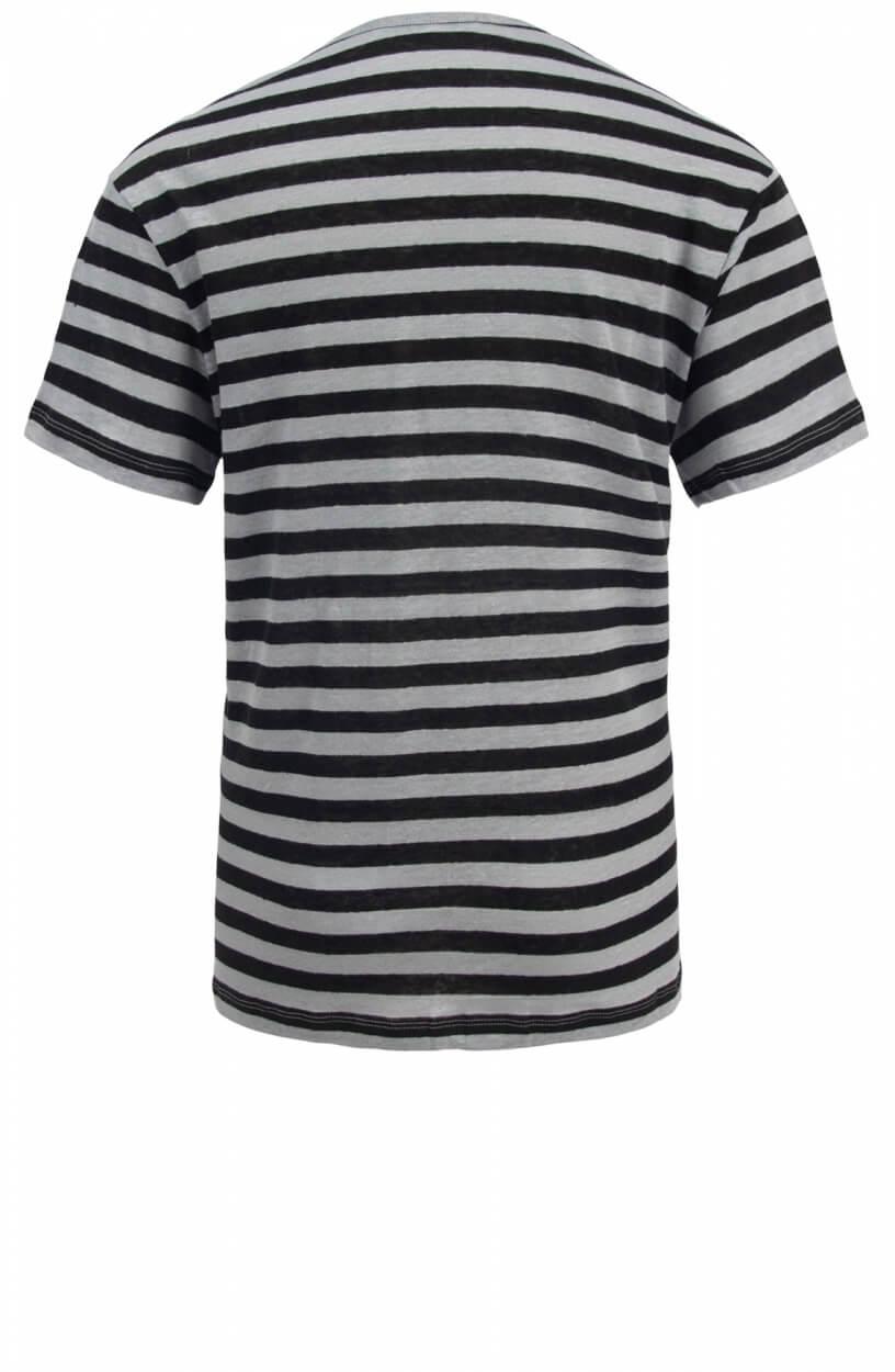 Penn & Ink Dames Gestreept linnen shirt Zwart