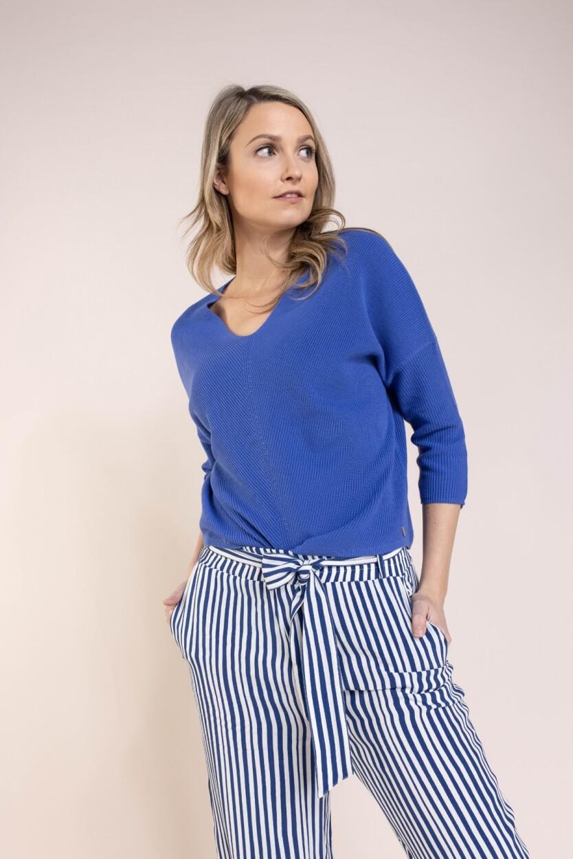 Anna Dames Gebreide V-hals pullover Blauw
