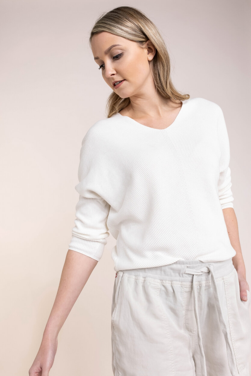 Anna Dames Gebreide V-hals pullover Wit
