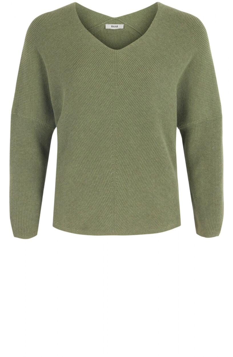 Anna Dames Gebreide V-hals pullover Groen