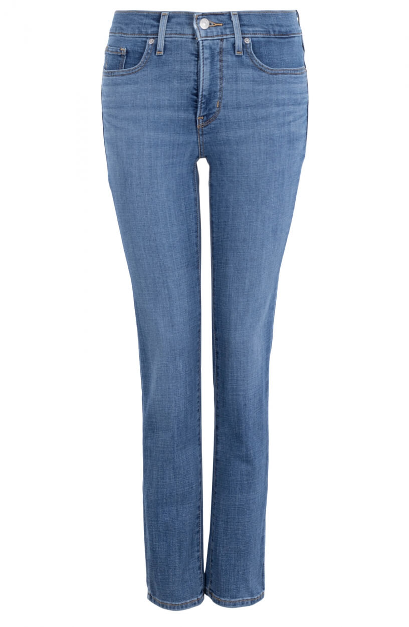 Levi's Dames 314 L30 shaping straight jeans Blauw