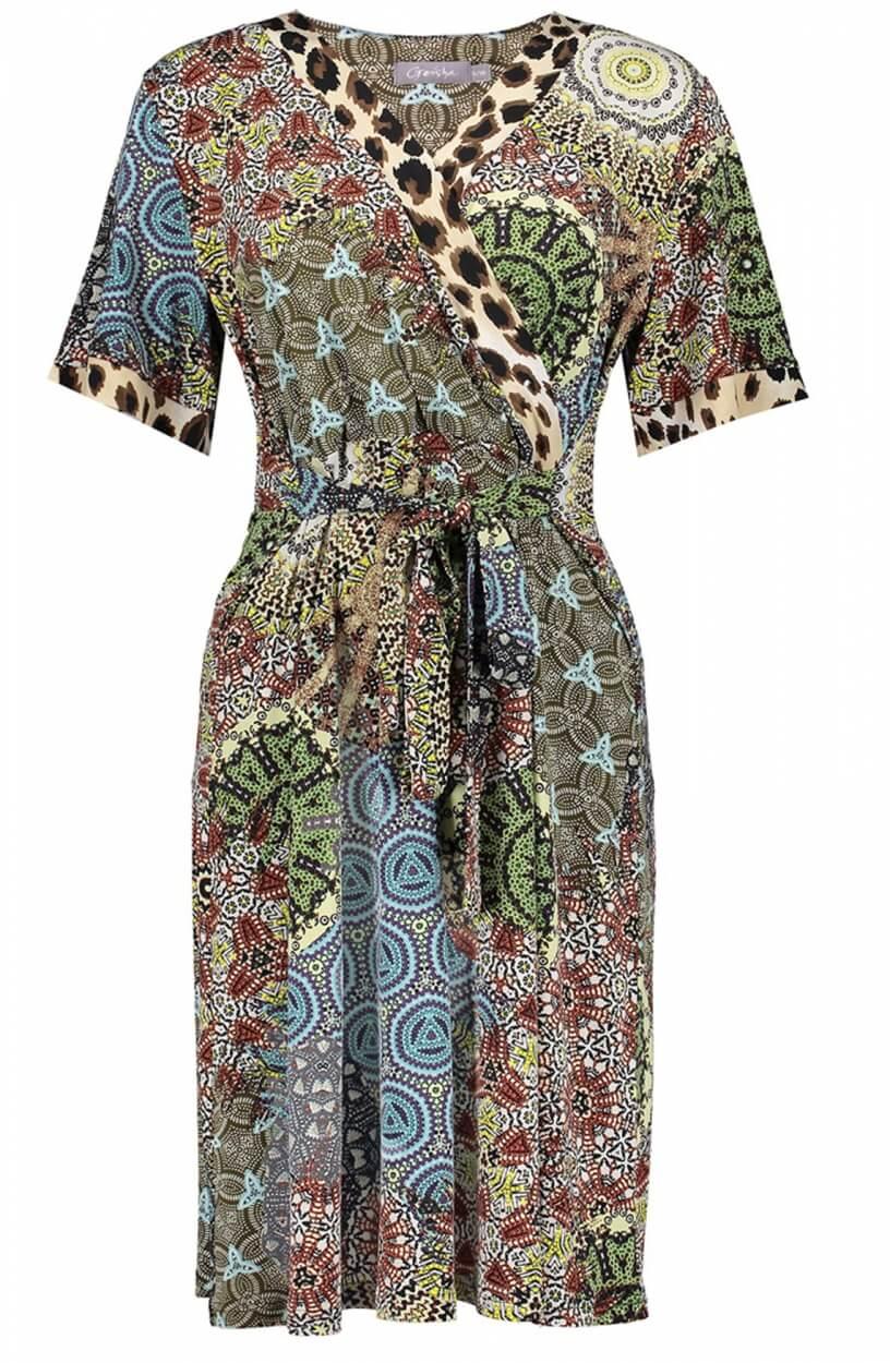 Geisha Dames Print jurkje Bruin