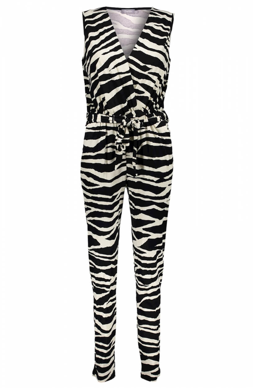 Geisha Dames Zebraprint jumpsuit Zwart