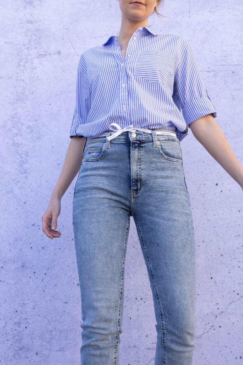 Calvin Klein Dames Skinnyjeans met ceintuur Blauw