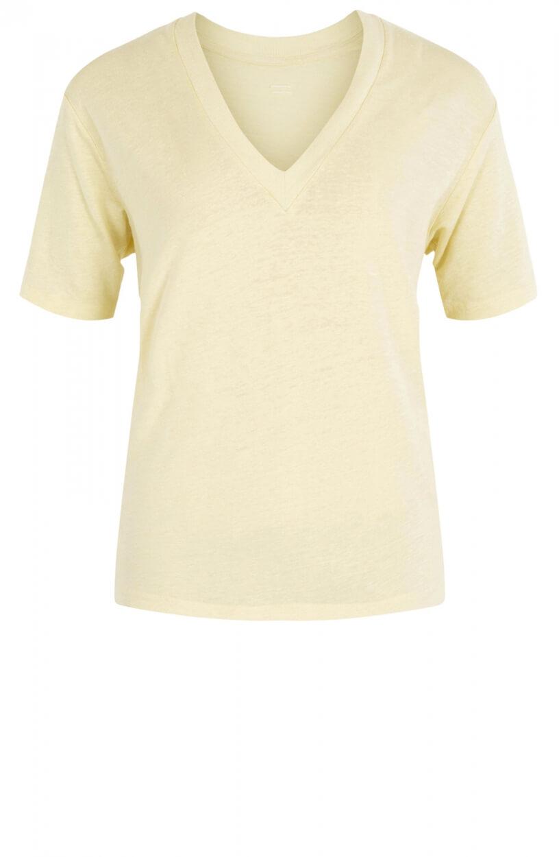 10 Days Dames V-hals linnen shirt Geel