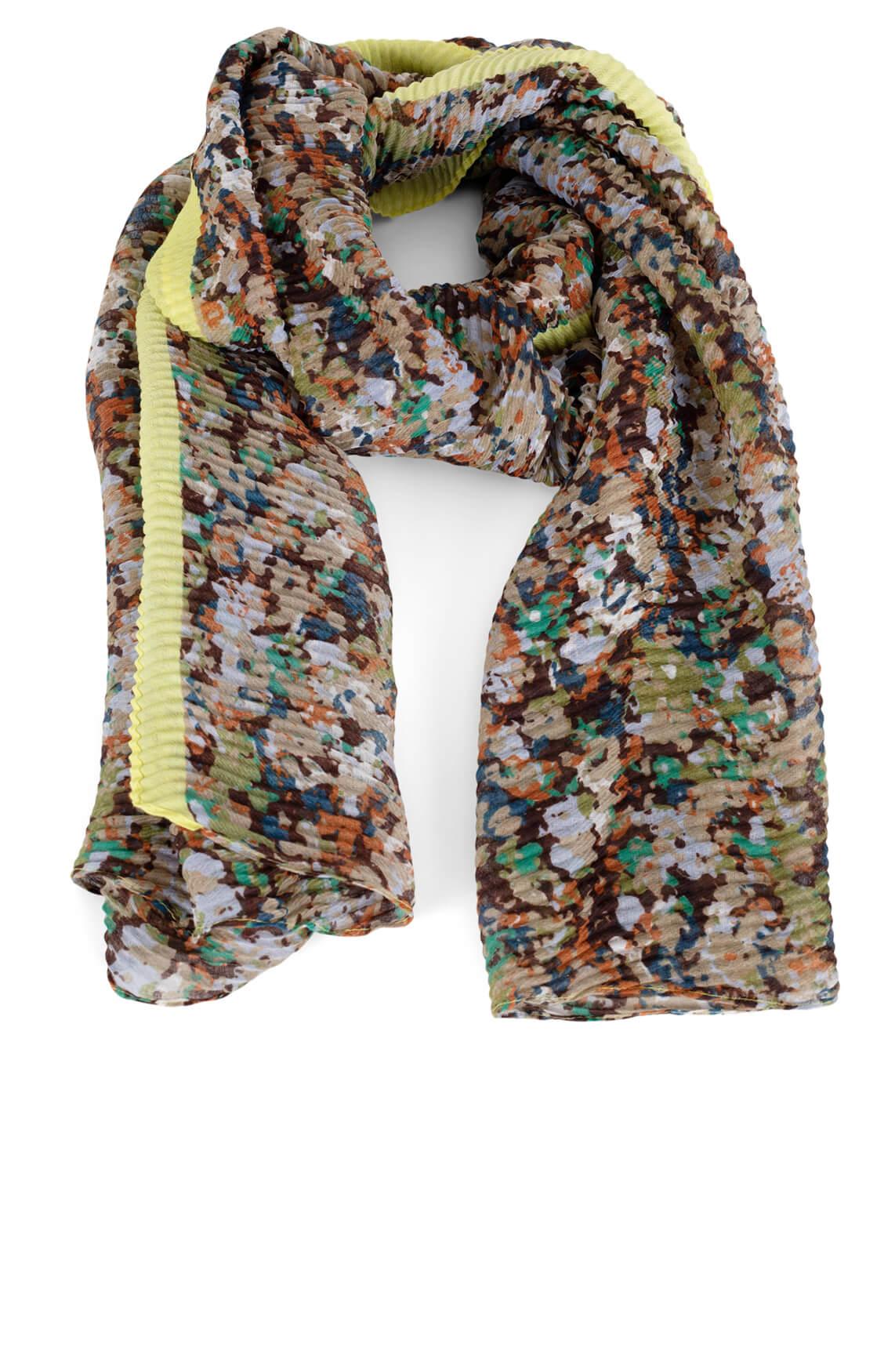 Codello Dames Plissé shawl met dessin Groen