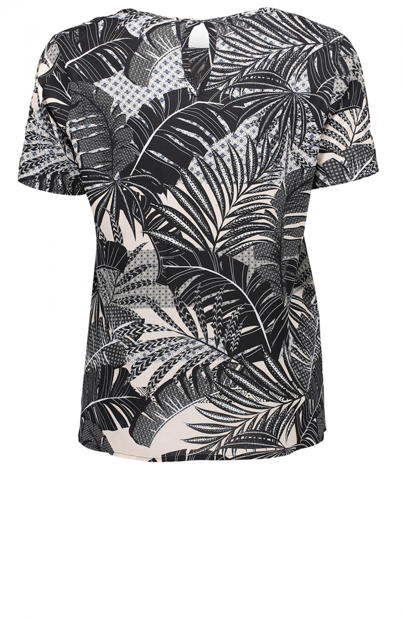 Geisha Dames Shirt met leaveprint Zwart