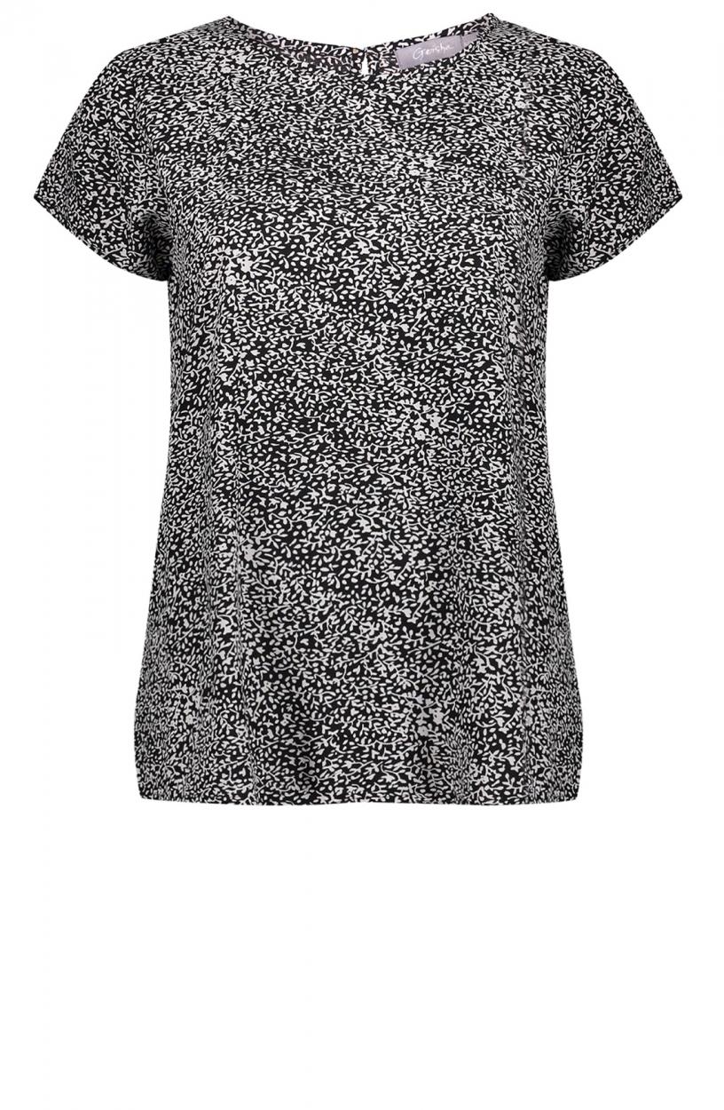 Geisha Dames Shirt met flowerprint Zwart