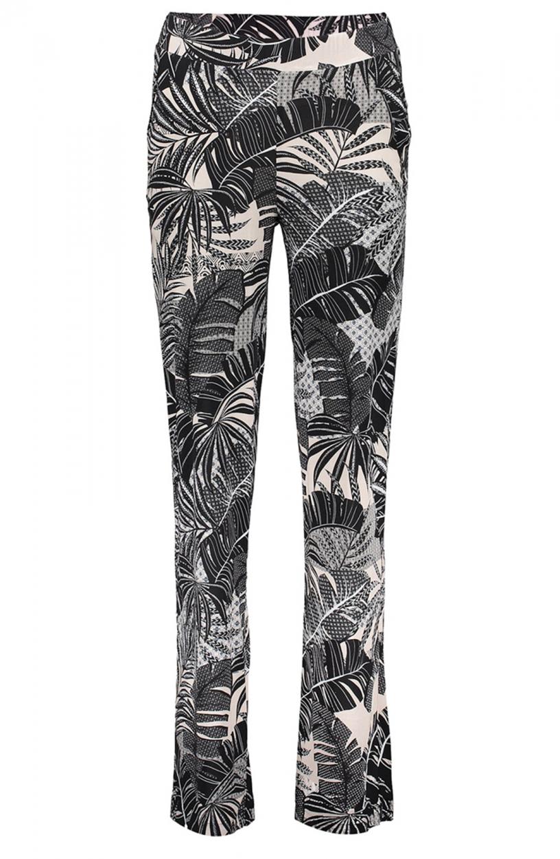Geisha Dames Beachpantalon met leaveprint Zwart