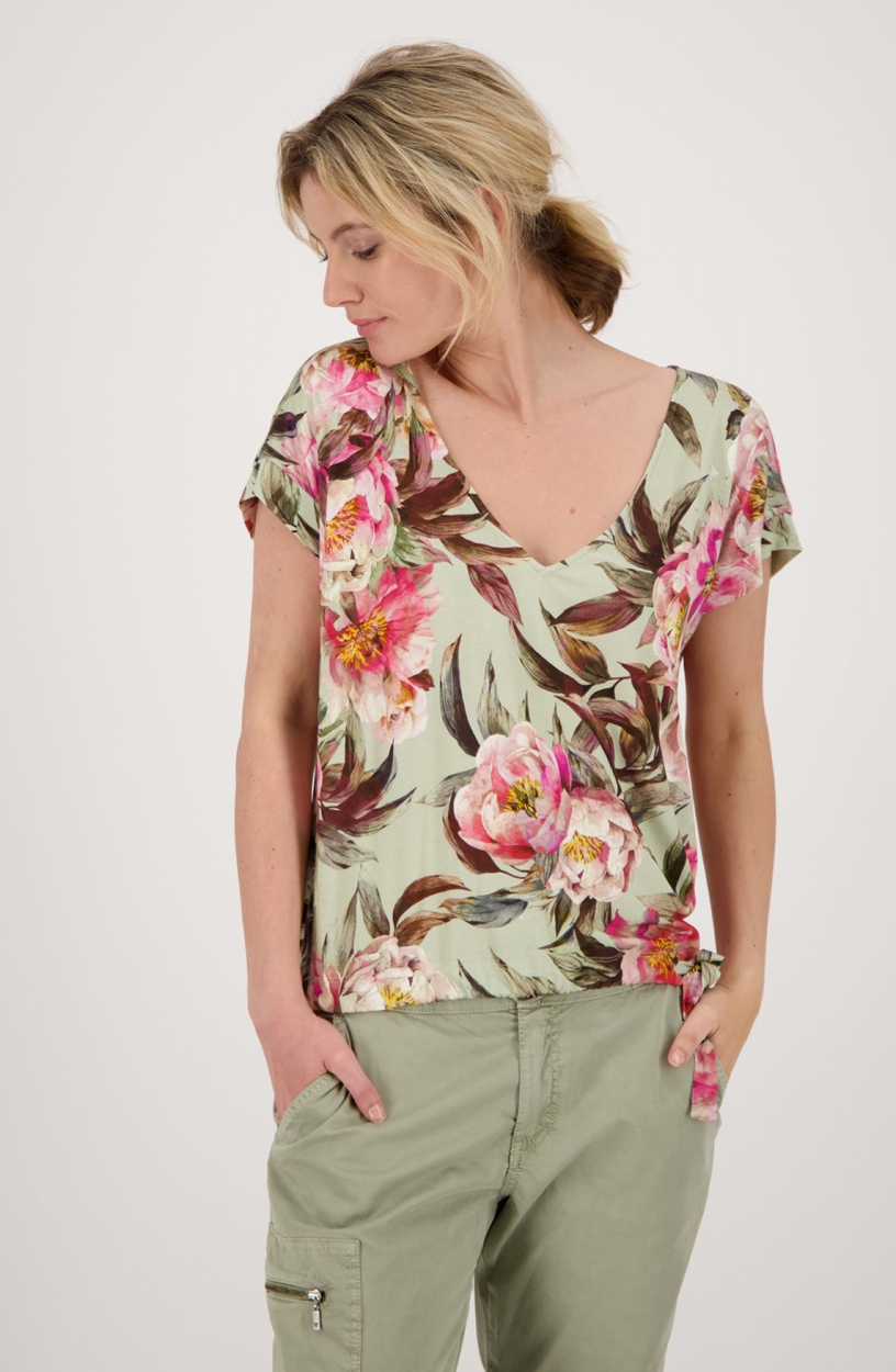 Monari Dames Shirt met bloemenprint Groen