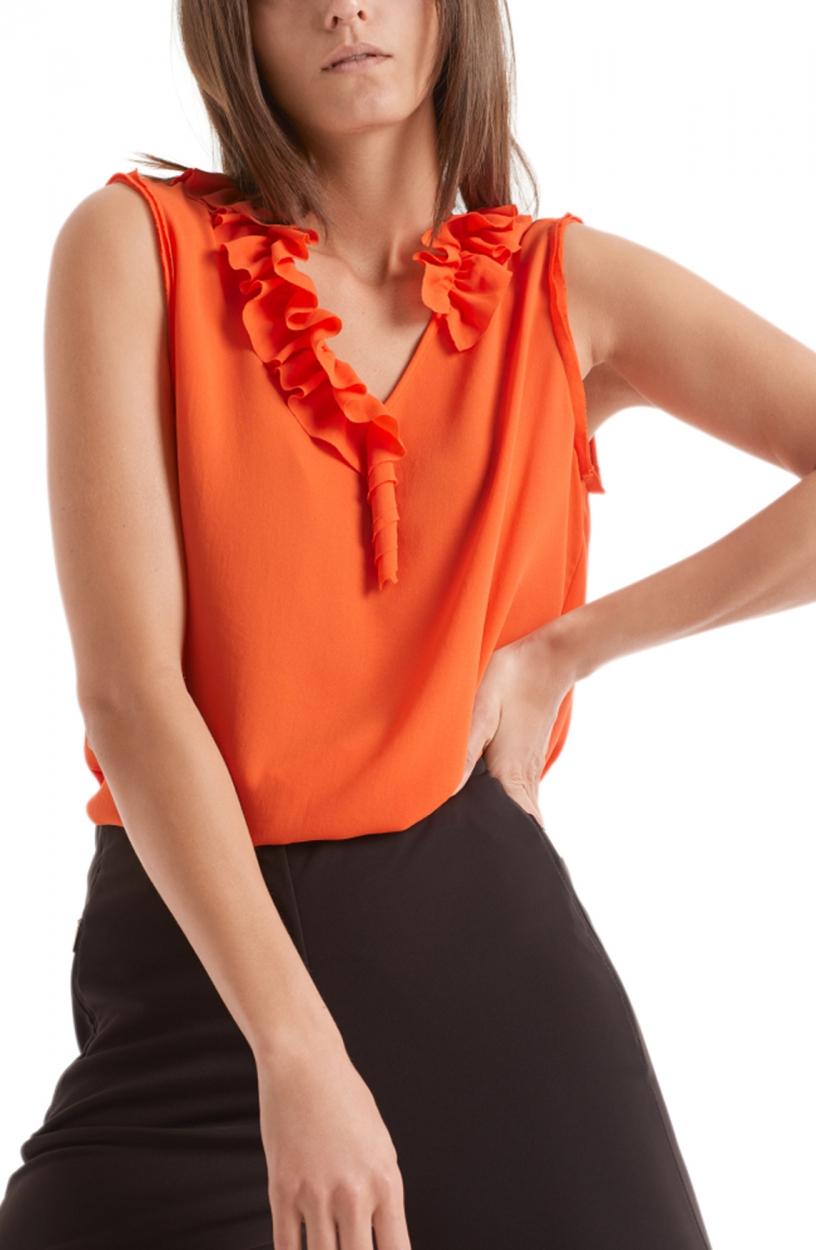 Marccain Dames Ruffle top Oranje