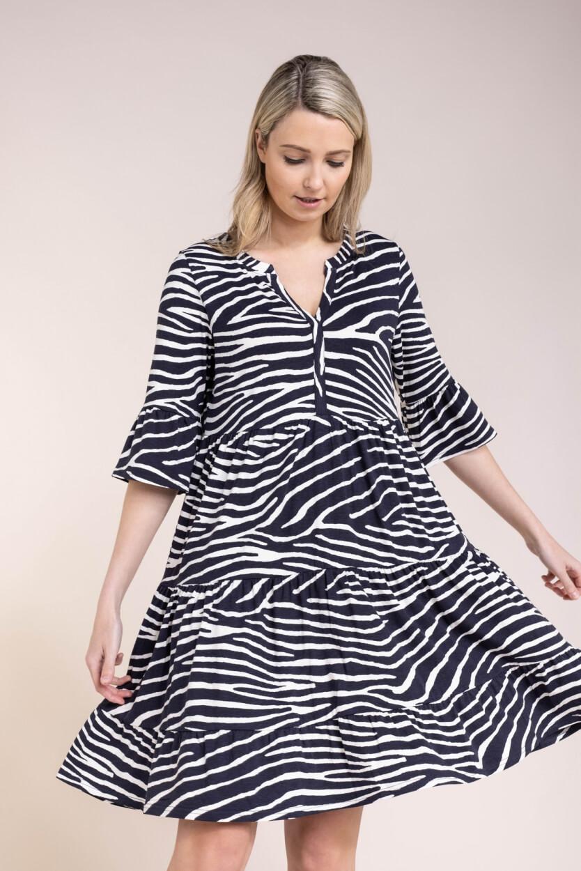 Geisha Dames Zebraprint jurk Blauw