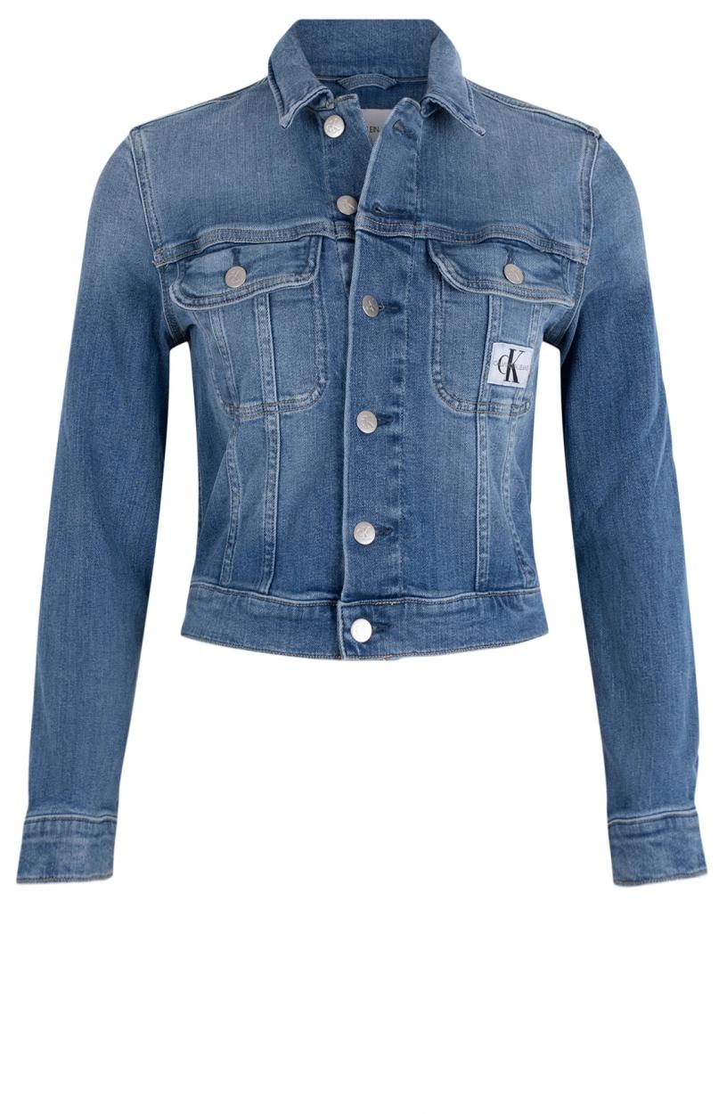 Calvin Klein Dames Cropped spijkerjack Blauw