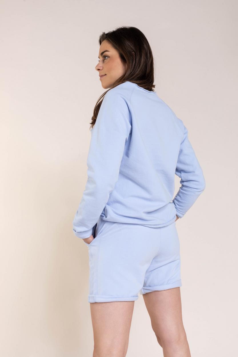 Penn & Ink Dames Pullover met tekstprint Blauw