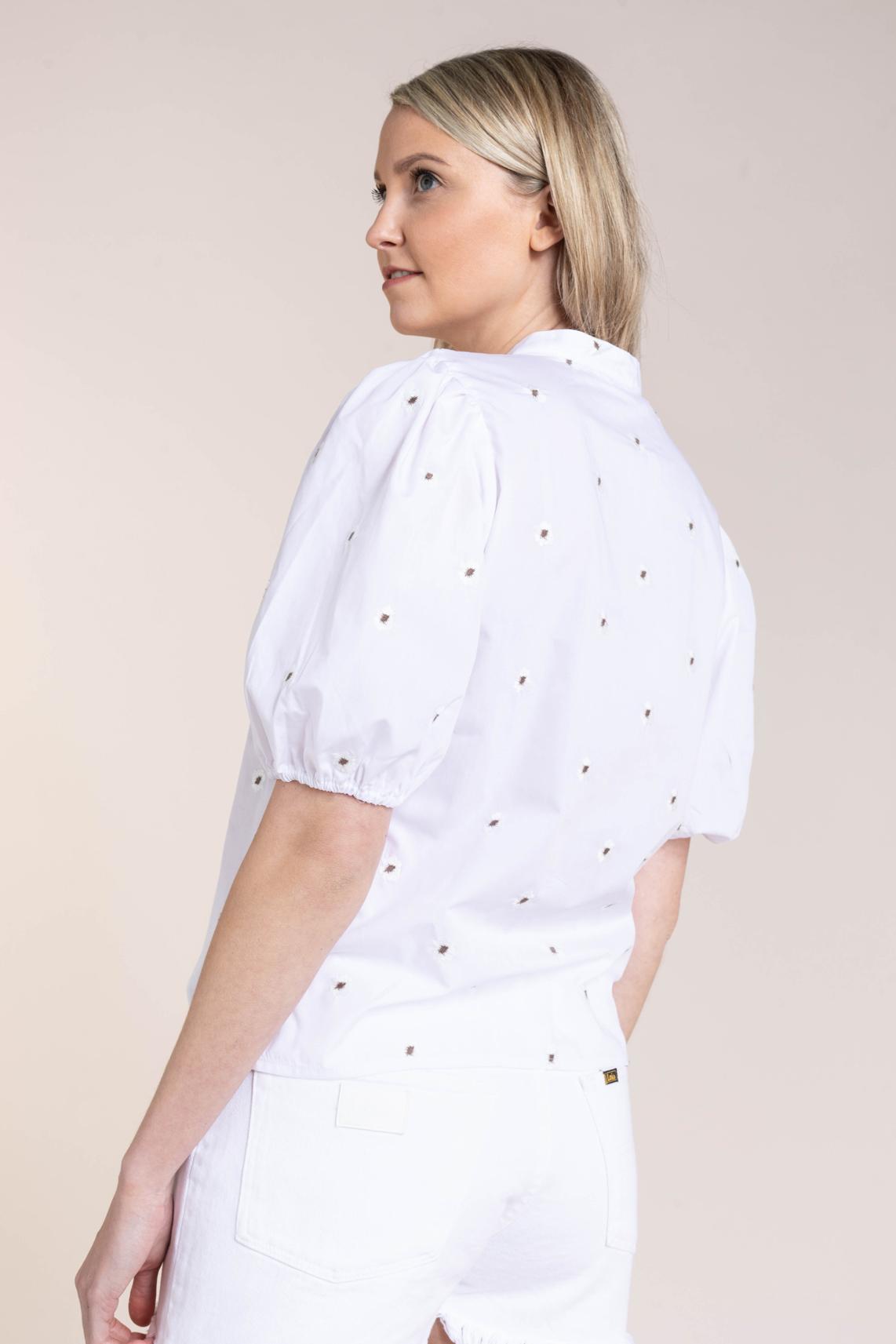 Moss Copenhagen Dames Blouse met borduursel Wit