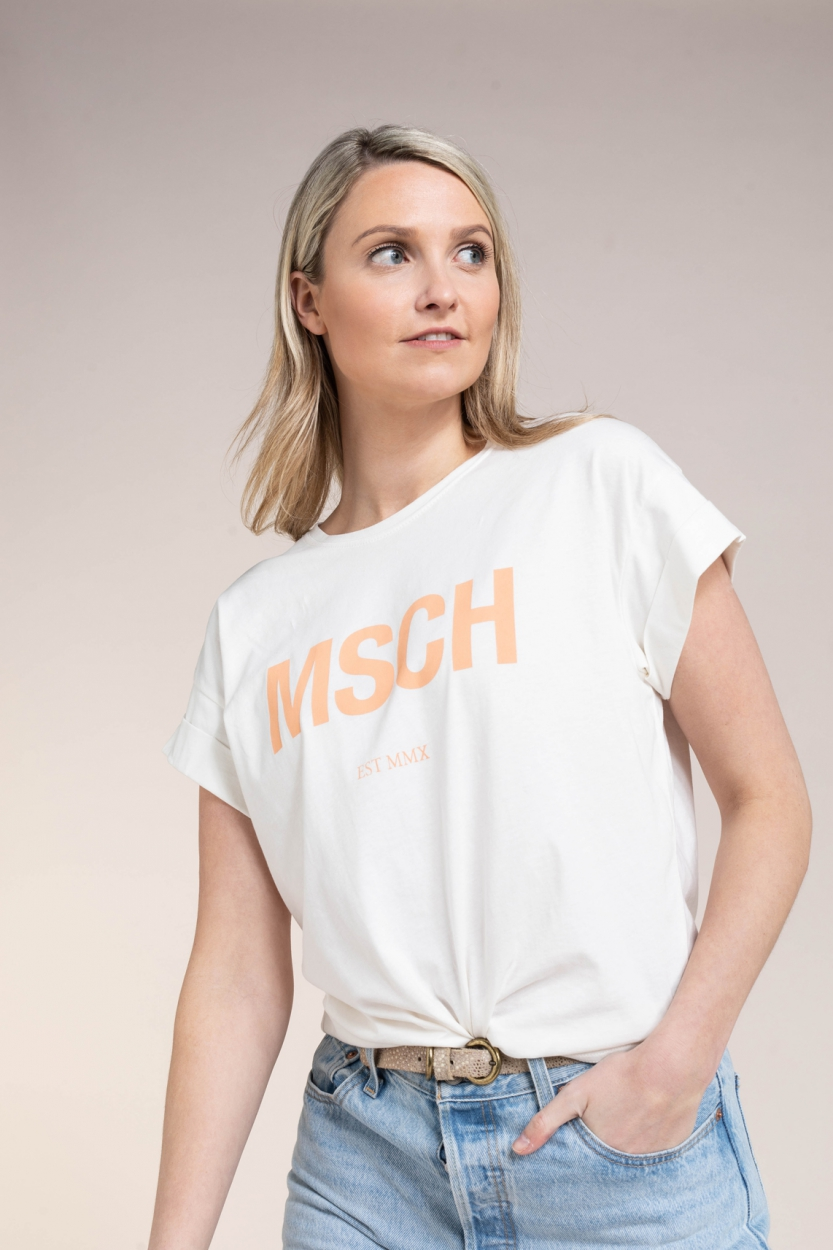 Moss Copenhagen Dames Alva logo shirt Wit