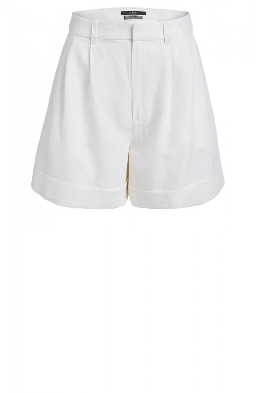 Set Dames Short met linnen Wit
