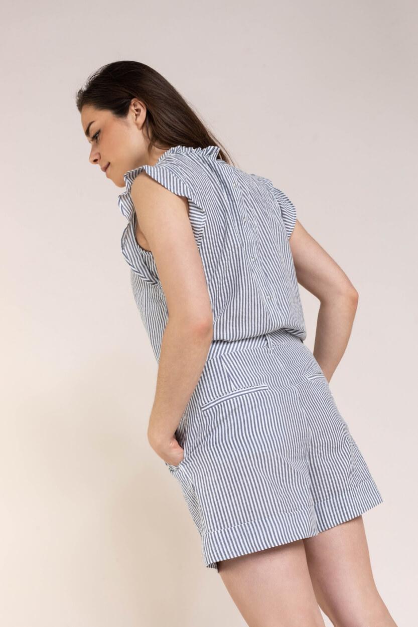 Set Dames Gestreepte blousetop Blauw
