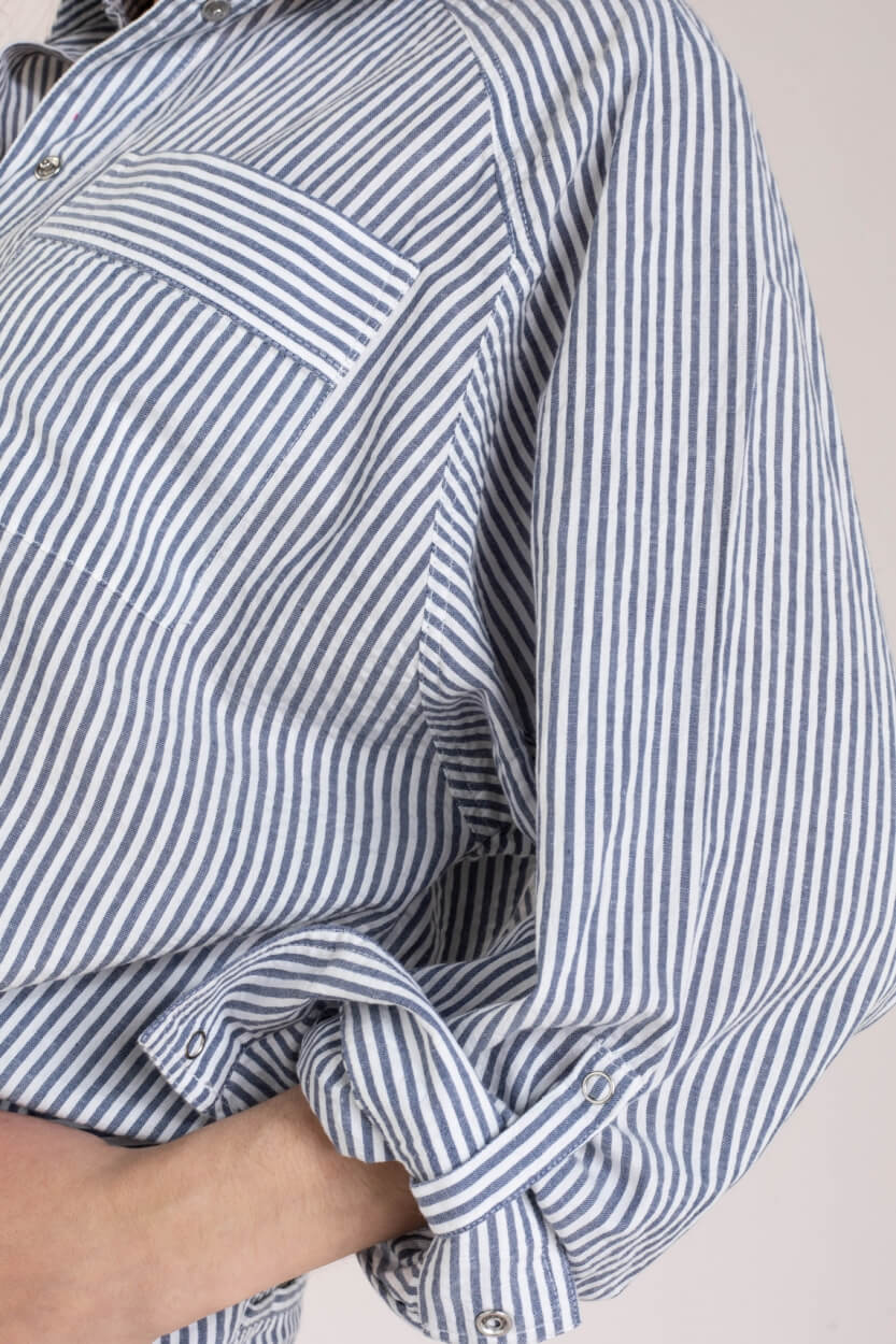 Set Dames Gestreepte blouse Blauw
