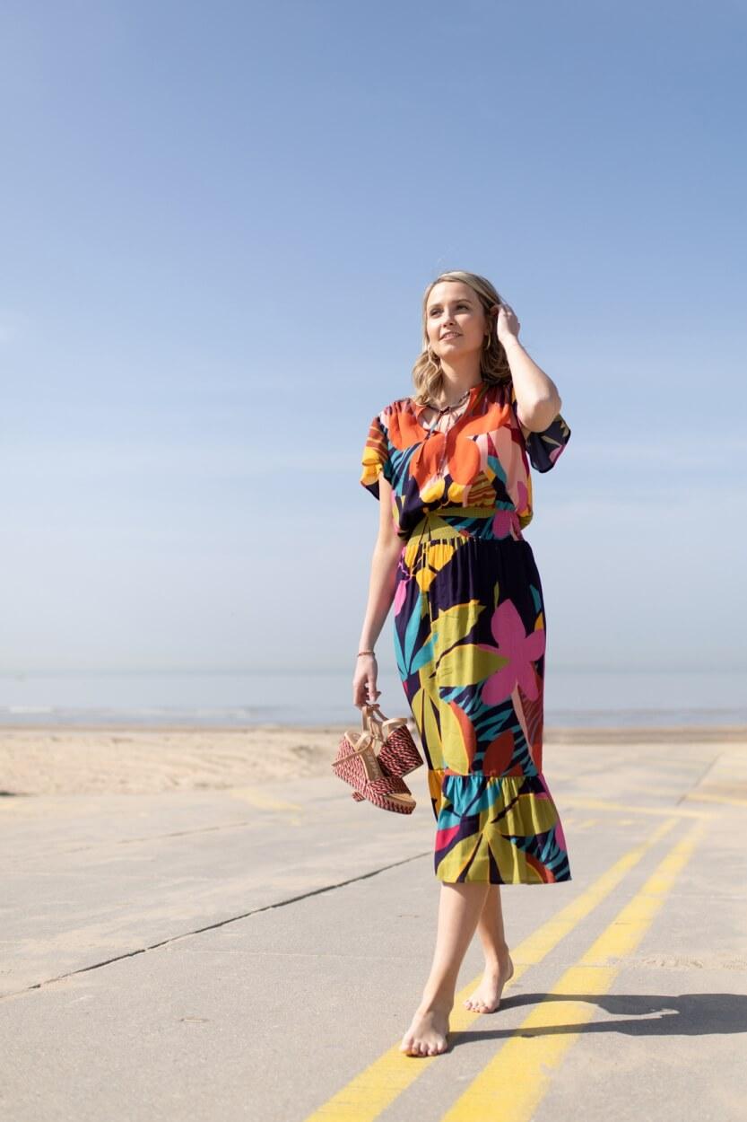 Anna Dames Kleurrijke maxi jurk Roze