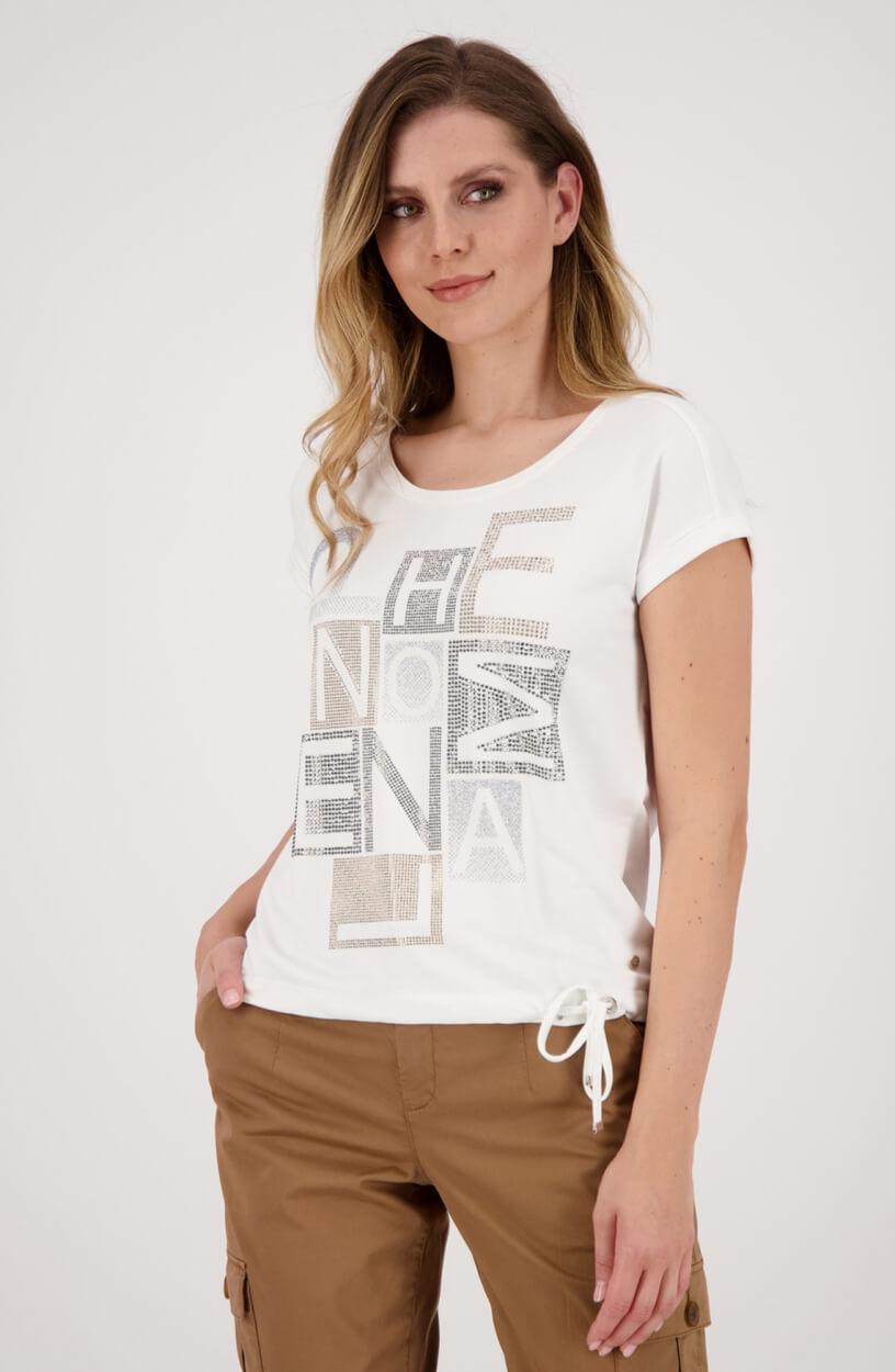 Monari Dames shirt met strassprint Wit