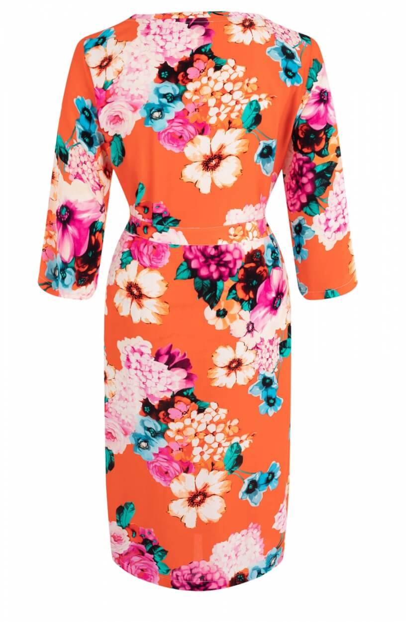 Anna Dames Jurk met floral print Oranje