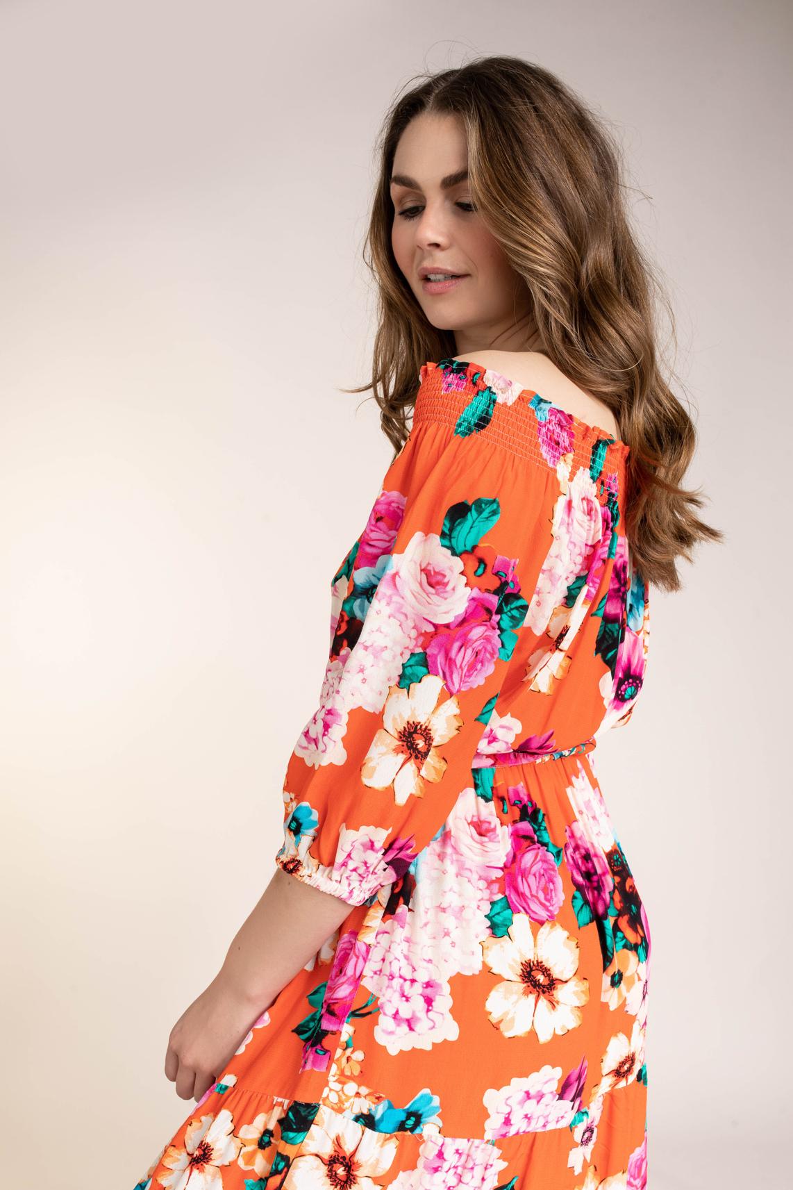 Anna Dames Off shoulder jurk Oranje