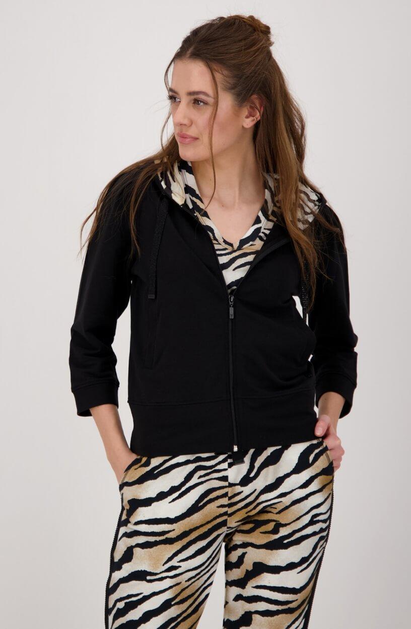 Monari Dames Vest met capuchon Zwart