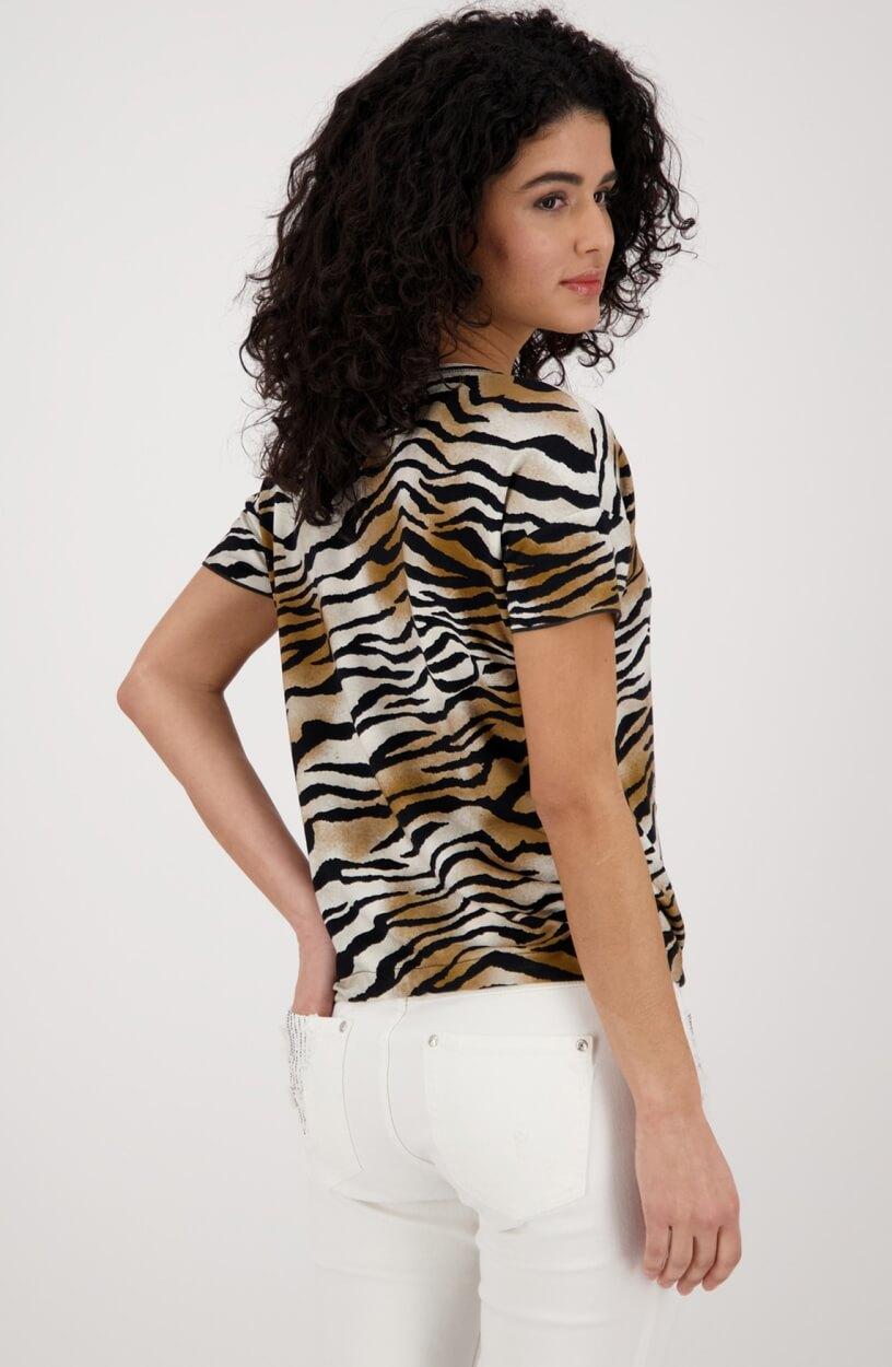 Monari Dames Shirt met animalprint Zwart