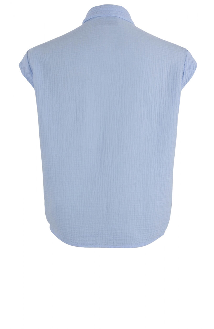 Penn & Ink Dames Knotted blouse Blauw