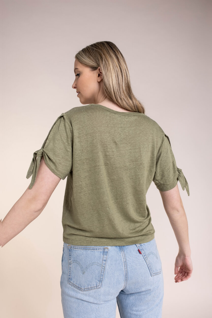 Anna Dames Linnen shirt met knoopdetail Groen