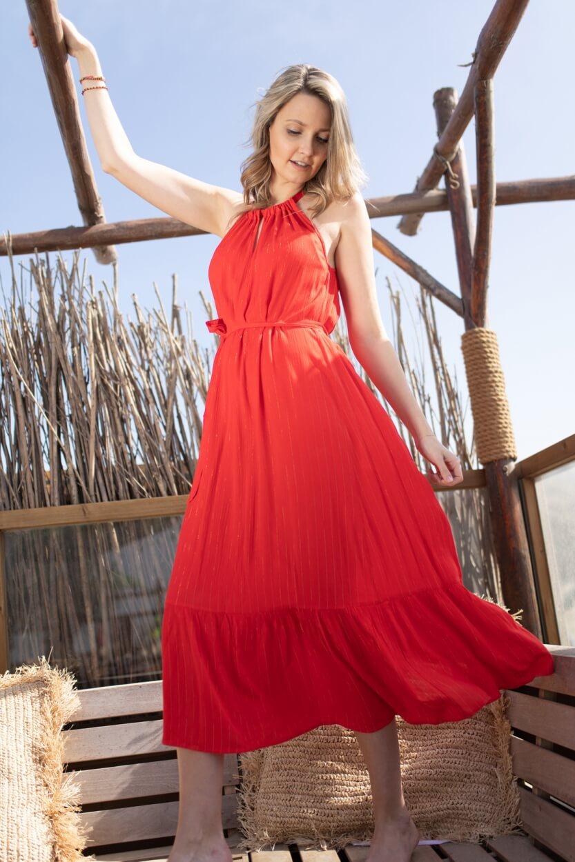 Anna Dames Maxi jurk met lurex Rood