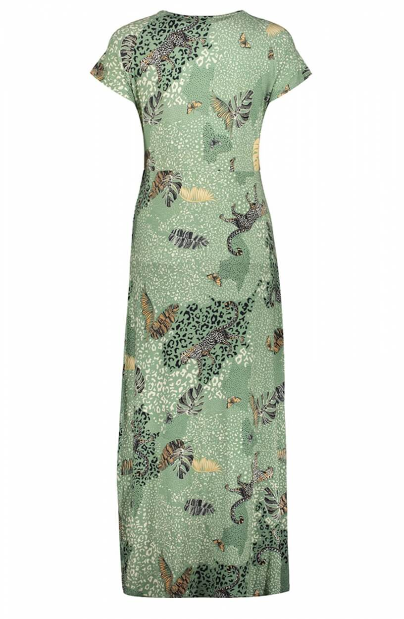 Geisha Dames Maxi jurk met luipaardprint Groen